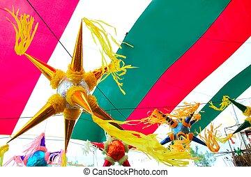 bandera, mexicano, pinata, plano de fondo, méxico