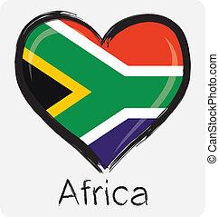 bandera, miłość, południowy afrykanin