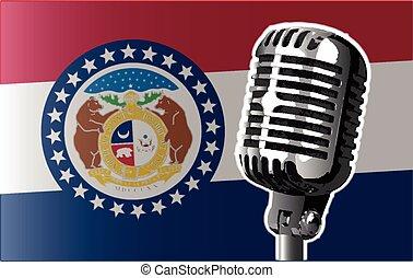 bandera, micrófono, misuri