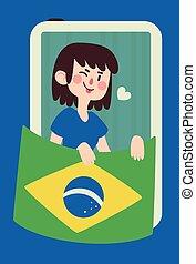 bandera, migoczący, dziewczyna, dzierżawa, brazylijczyk