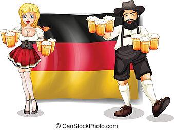 bandera, mujer, alemania, hombre