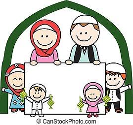 bandera, musulmán, familia , tenencia
