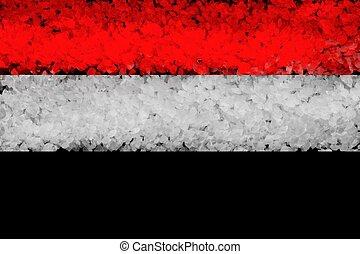 bandera nacional, de, siria, de, grueso, coloreado, en, un, fondo negro