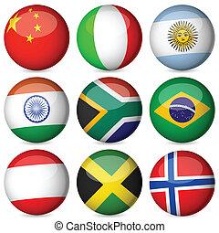 bandera nacional, pelota, conjunto