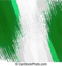 bandera nigeriana, grunge, colores, plano de fondo