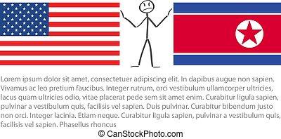 bandera, norte, bandera, américa, entre, nosotros, vector, ...