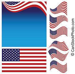 bandera, norteamericano, conjunto