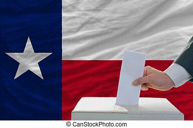 bandera, nosotros, tejas, elecciones, hombre, frente, estado...
