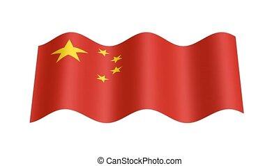 bandera, ożywienie, falisty, chińczyk, 3d
