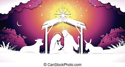 bandera, ocaso, escena natividad navidad