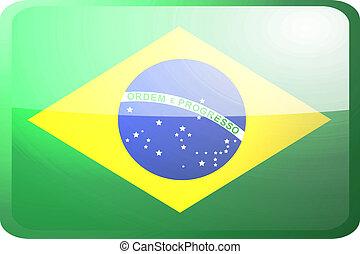 bandera, od, brazylia, guzik