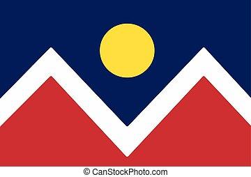 bandera, od, denver, kolorado, usa., wektor, format