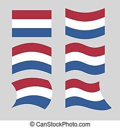 bandera, od, netherlands., komplet, od, bandery, od, niderlandy, w, różny, forms., rozwijanie, holenderska bandera