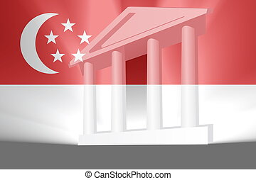 bandera, od, singapore, rząd