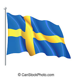 bandera, od, szwecja