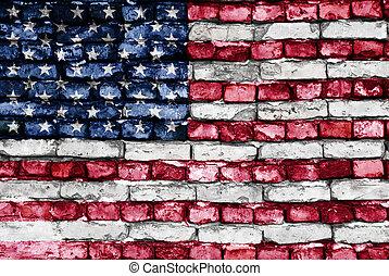 bandera, od, usa, barwiony, na, na, stary, ceglana ściana