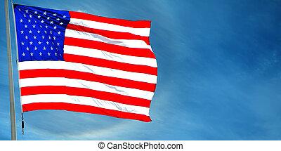 bandera, od, usa, falować, przeciw, błękitne niebo