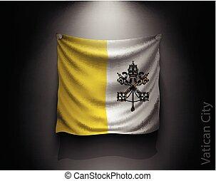 bandera ondeante, ciudad del vaticano, en, un, oscuridad, pared