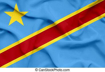 bandera ondeante, congo, república, democrático