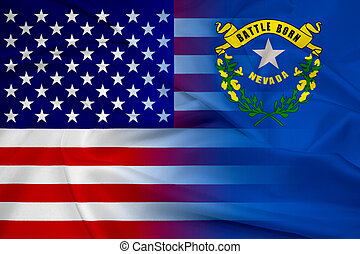 bandera ondeante, estado de nevada, estados unidos de...