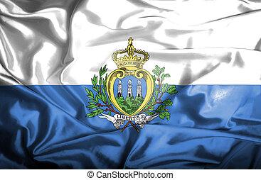 bandera ondeante, san marino