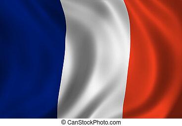 bandera, ondulado, francés