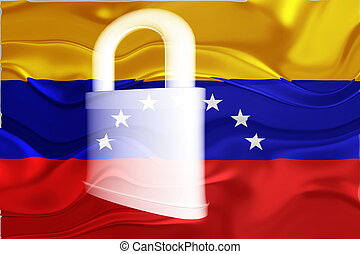 bandera, ondulado, venezuela, seguridad