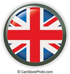 bandera, orbe, botón, ilustración, reino unido