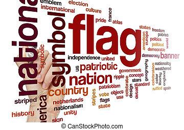bandera, palabra, nube