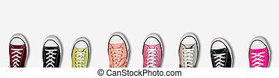 bandera, panorama, zapatillas, coloreado, variado