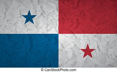 bandera, papel arrugado, grunge, panamá