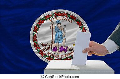 bandera, papeleta, virginia, durante, elecciones, hombre, ...