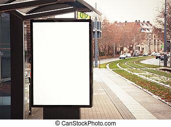 bandera, parada de autobús, cartelera, blanco, vacío