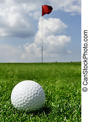 bandera, pelota, golf
