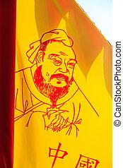 bandera, pintura, confucius
