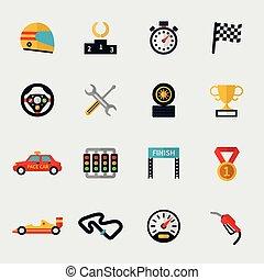 bandera, pista, coche de la raza, moderno, iconos, plano, carreras