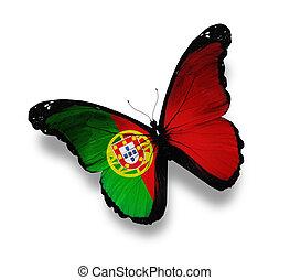 bandera portuguesa, blanco, aislado, mariposa
