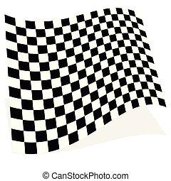bandera, prąd, cień, odizolowany, element, biały, biegi