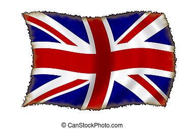 bandera, quemado, británico
