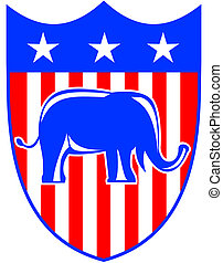 bandera, republicano, elefante, estados unidos de américa, mascota