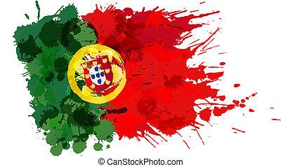 bandera, robiony, barwny, portugalia, plamy