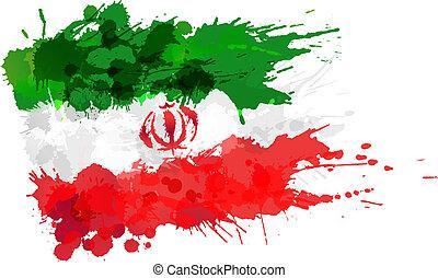 bandera, robiony, iran, plamy, barwny