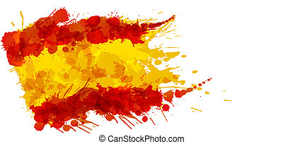 bandera, robiony, plamy, barwny, hiszpański