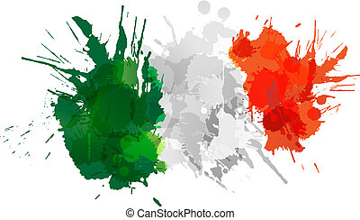 bandera, robiony, plamy, barwny, włoski