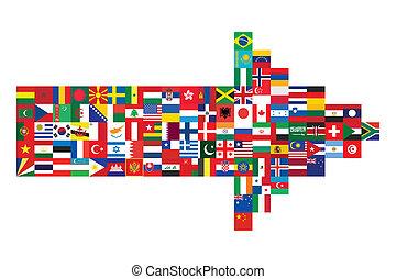bandera, robiony, strzała, ikony