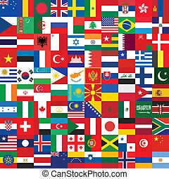 bandera, robiony, tło, ikony