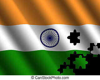 bandera, rompecabezas, indio