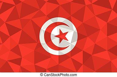 bandera, símbolo, tunecino, illustration., graphic., poly, ...