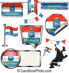 bandera, samara, brillante, iconos