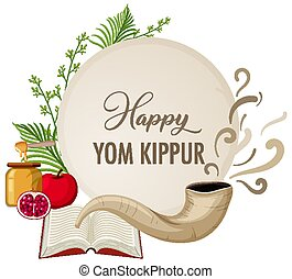 bandera, shofar, kippur, feliz, yom